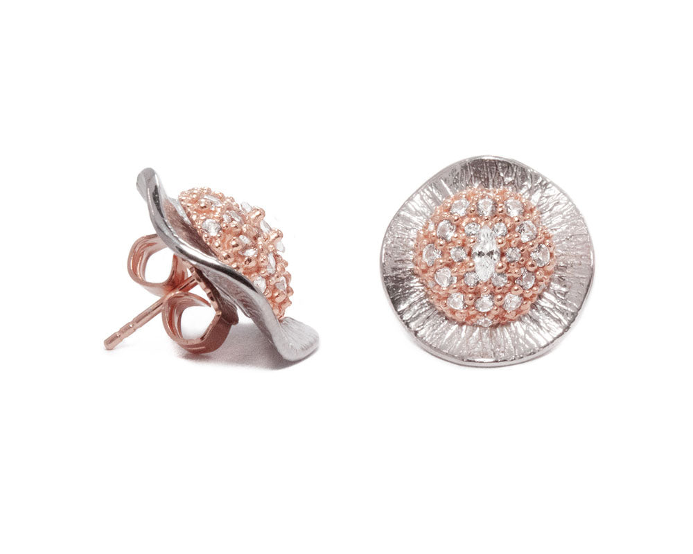Ladies' Earrings Pink Gold Plated 'Thai Rose Gold Flower '