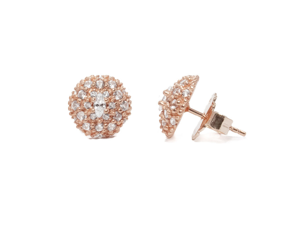 Ladies' Studs Rose Gold Plated Sterling Silver 'Thai Rose Gold Pollen '