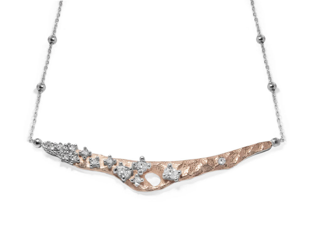 Ladies' 'Rose Moonscape ' 18kt Pink Gold Plated Necklace