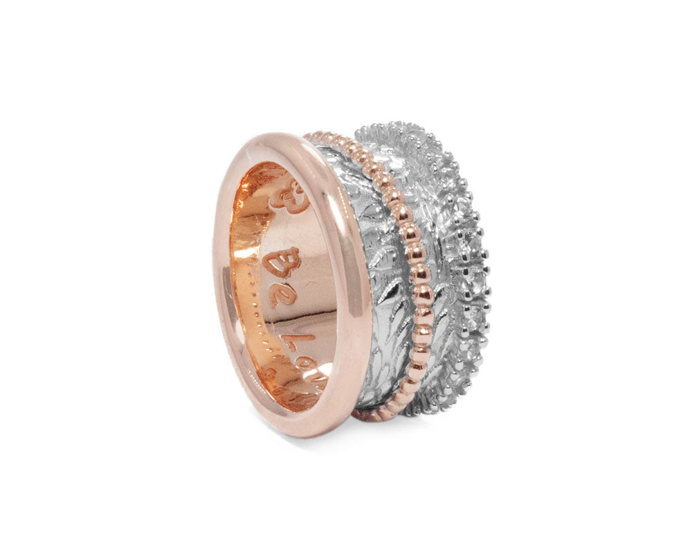 Ladies' Ring 18kt Rose Gold Plated Sterling Silver 'Rose Trinity '