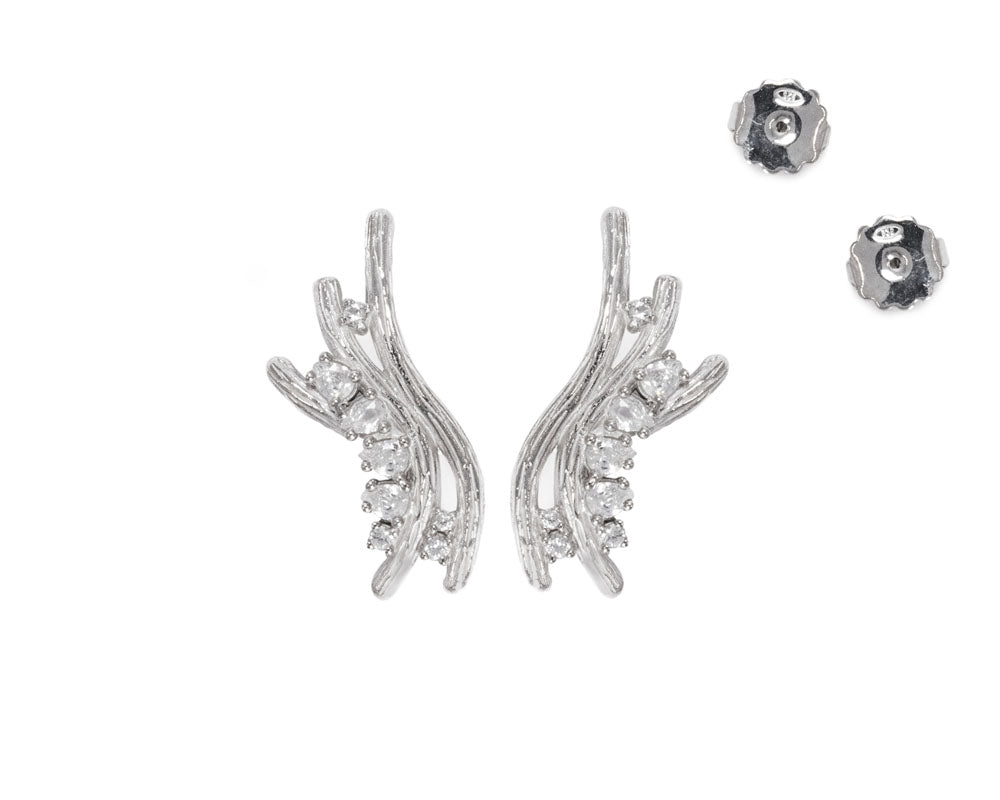Ladies' 'Sweet Vanilla Breeze ' White Gold Plated Sterling Silver Earrings