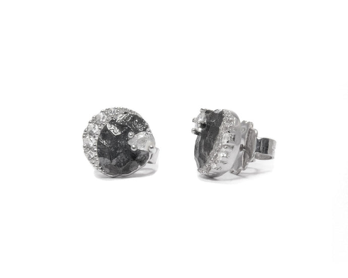 Ladies' 'Moon Eclipse ' Studs White Rhodium