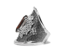 left side Ladies' White Rhodium Ring | Leaves Brown | Kukka Jewelry