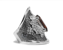 right side Ladies' White Rhodium Ring | Leaves Brown | Kukka Jewelry