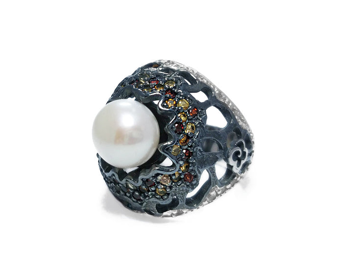 Ladies' 'Alma Perla Lune Sea Anemone' Rhodium Silver Plated Ring