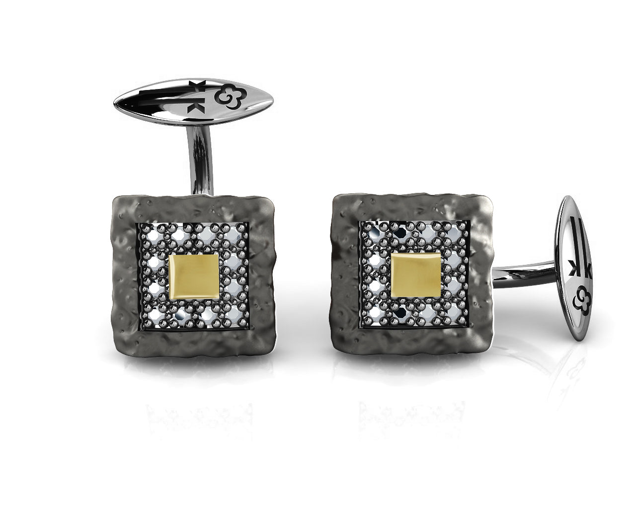 Men's Cufflinks 'Blaze Magma Compass' with Black Rhodium Plated Sterling Silver