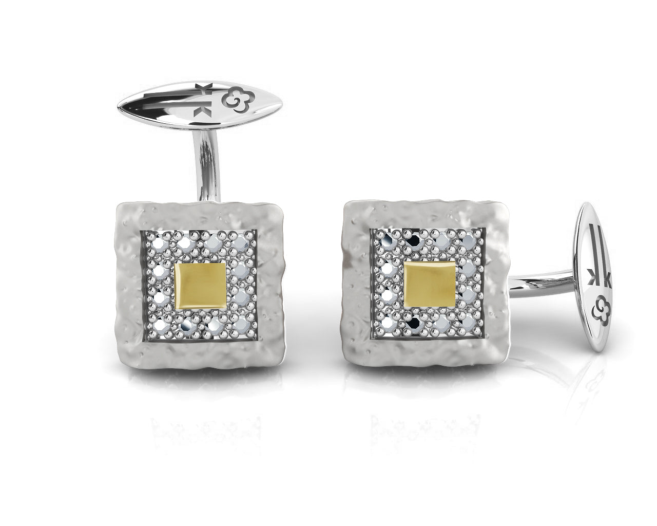 Core Magma Compass' Cufflinks with Black Gold Plated Sterling Silver  for Men