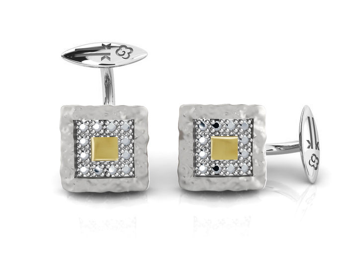 Core Magma Compass' Cufflinks with Black Gold plating for Men