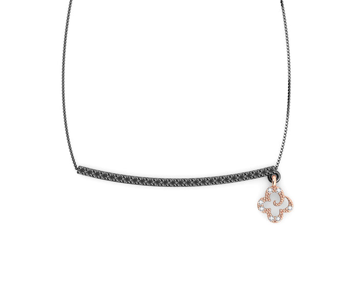 Pink Gold Sterling Silver Plated Necklace 'Kukkadas Shadow Don't Leave Me Dangling ' for Her