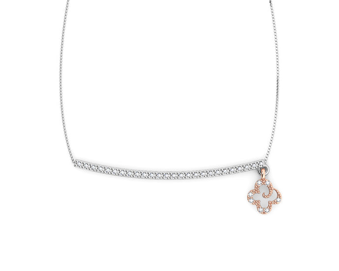 Rose Gold Plated Necklace 'Kukkadas Silver Don't Leave Me Dangling ' for Girls