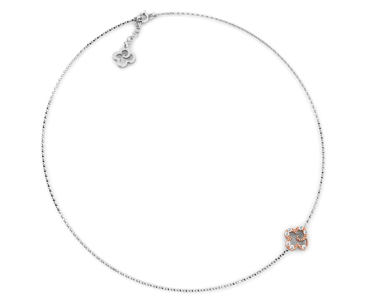 Pink Gold Plated Necklace for Women 'Kukkadas Silver Dazzle Me '