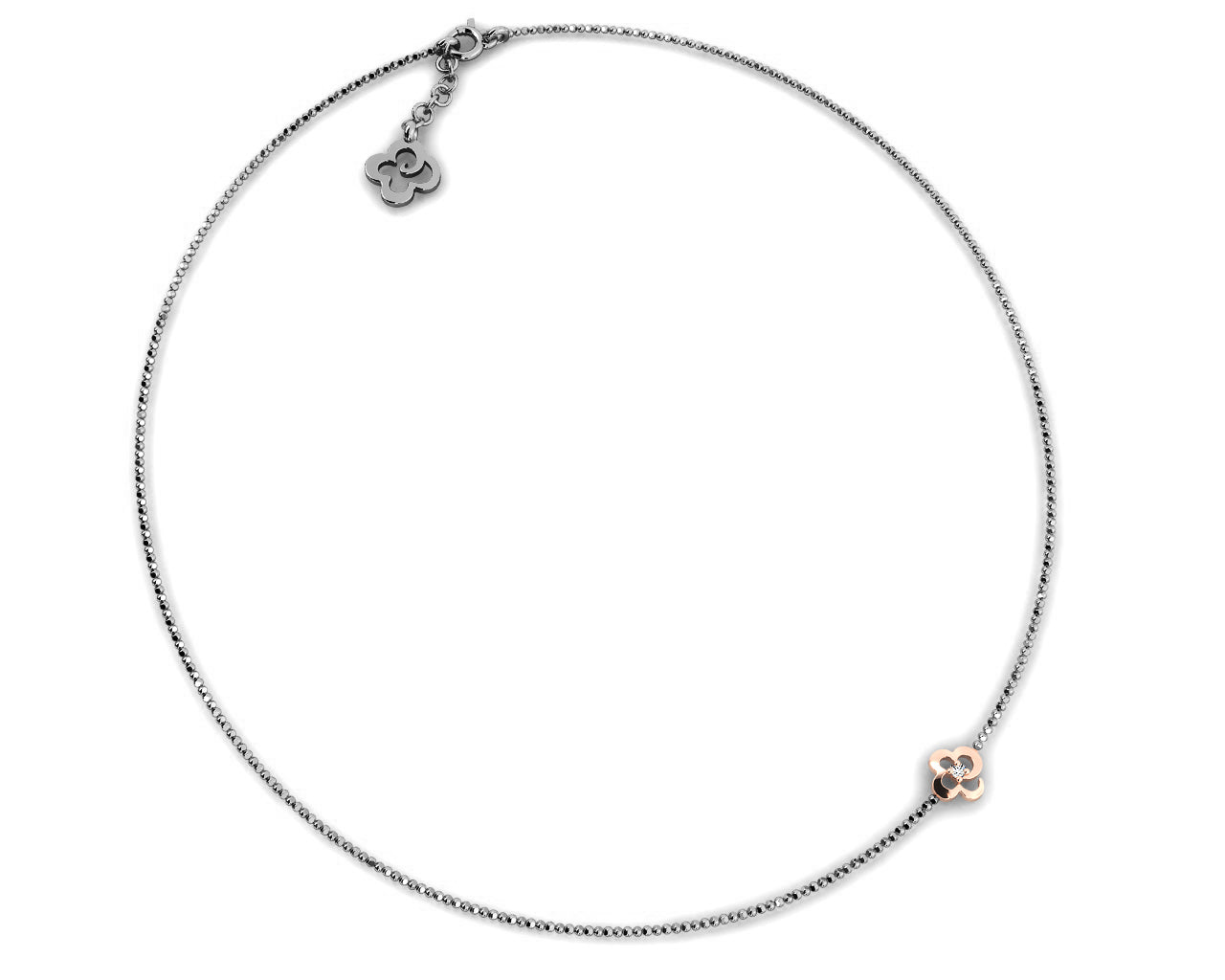 Necklace Sterling Silver in Rose Gold Plating for Women 'Kukkadas Shadow Charm Me '