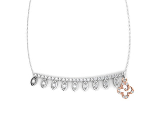 Sterling Silver Necklace for Women Pink Gold Plated 'Kukkadas Silver Skirt '
