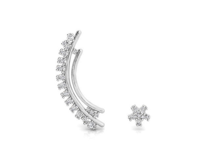 Ladies' 'Sweet Vanilla Flight' White Rhodium Earrings