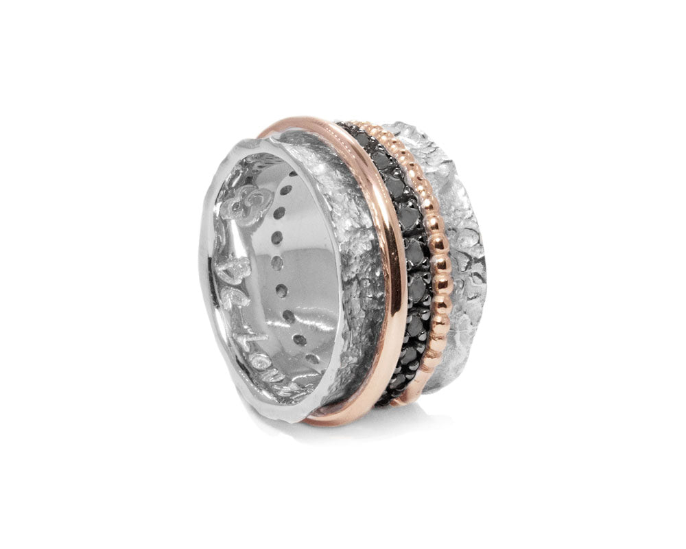 Ring for Ladies Rose and White Gold Plated Sterling Silver 'Glow Intimacy '