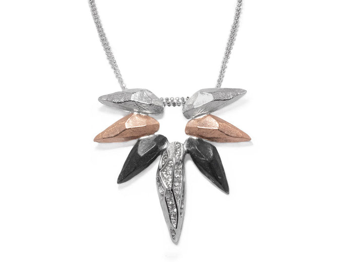 Necklace for Women | Obsydian Rose Fury main view | Pink Gold Plated | Kukka Jewelry