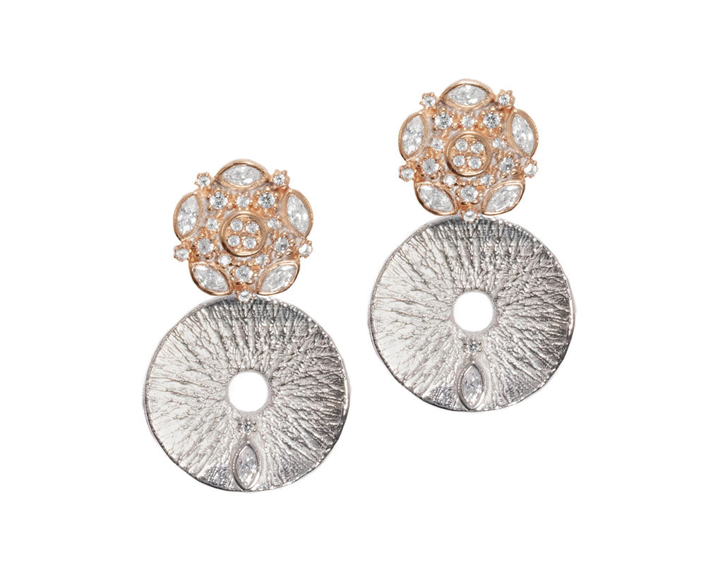 Silver Plated in Rose Gold Earrings for Ladies 'Thai Rose Gold Celestial Orbit '