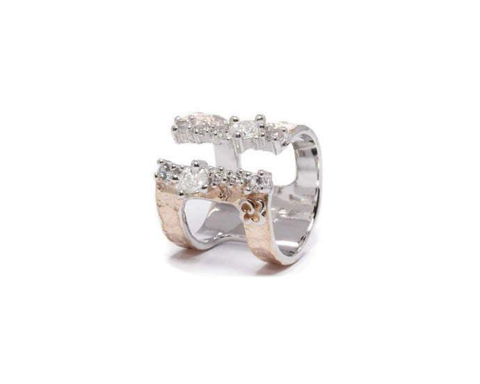 Sterling Silver Pink Gold Plated Ring 'Rose Moonbeam ' for Girls