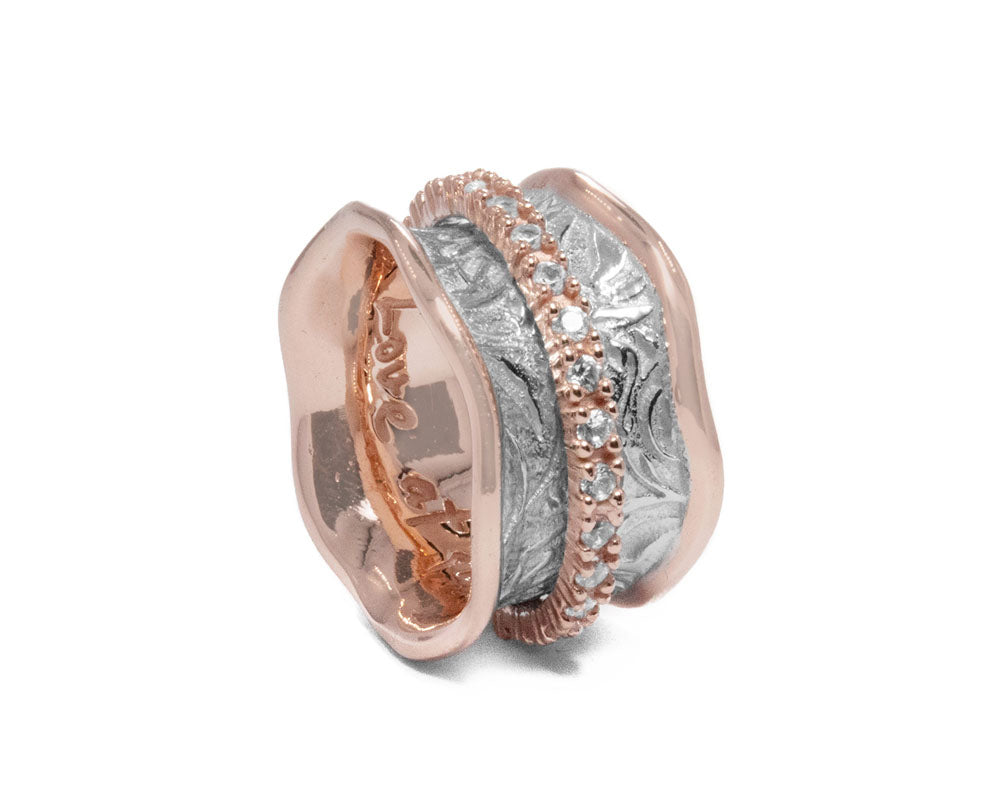 Ring for Girls 'Rose Gold Secret-Keeper ' Pink Gold Silver Plated