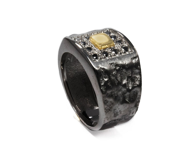 Ring Black Gold Plated Sterling Silver for Man 'Blaze Magma Compass'