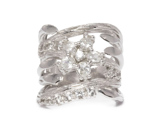 Ring for Women 'Sweet Vanilla Orchid ' 18kt White Gold Plated
