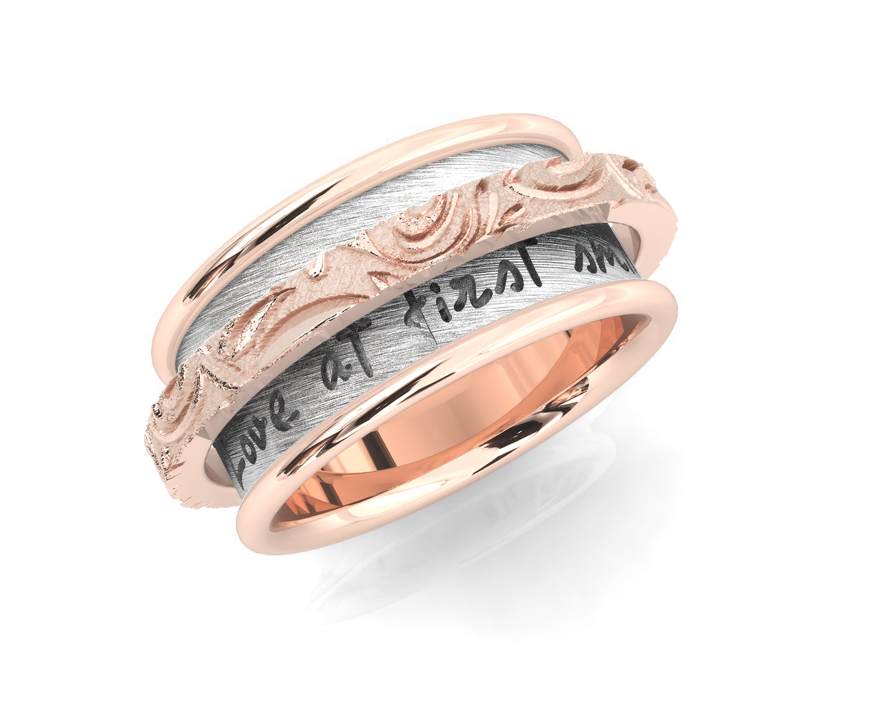 Ladies' 'Rose Gold Waves Chemistry ' Rose Gold Sterling Silver Plated Ring