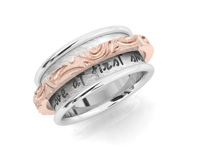 Girls' 'Rose and Silver Waves Chemistry ' Sterling Silver in Rose Gold Ring