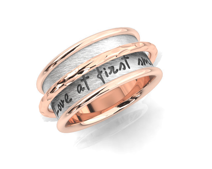 Pink Gold Plated Ring 'Rose and Silver Ripple Chemistry ' for Girls