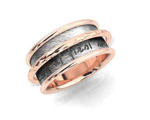 Pink Gold Plated Sterling Silver Ring 'Rose and Shadow Ripple Chemistry ' for Women