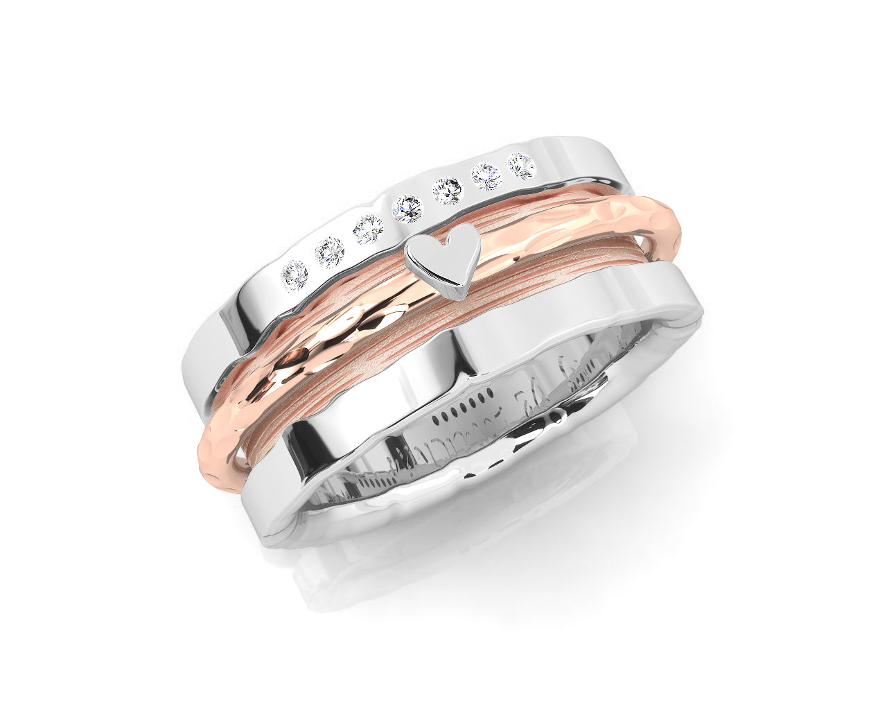 Women's Ring 18kt Pink Gold Plated Sterling Silver 'Rose and Silver Sweetheart '