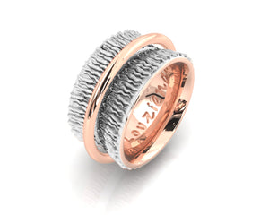 Ladies' Ring Pink Gold Plated 'Rose Gold Highlight '