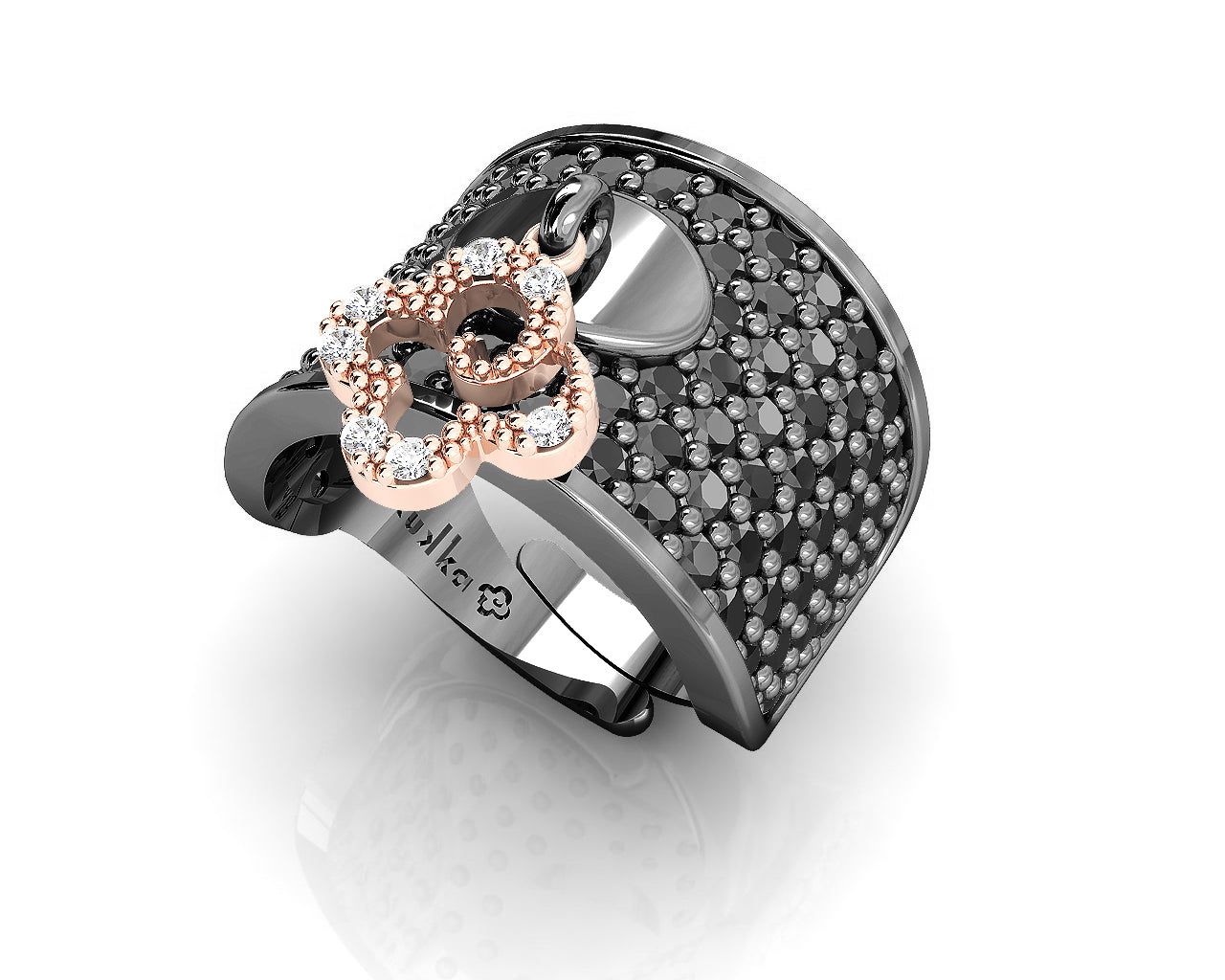 Rose Gold Sterling Silver Plated Ring 'Kukkadas Shadow Field of Flowers ' for Women