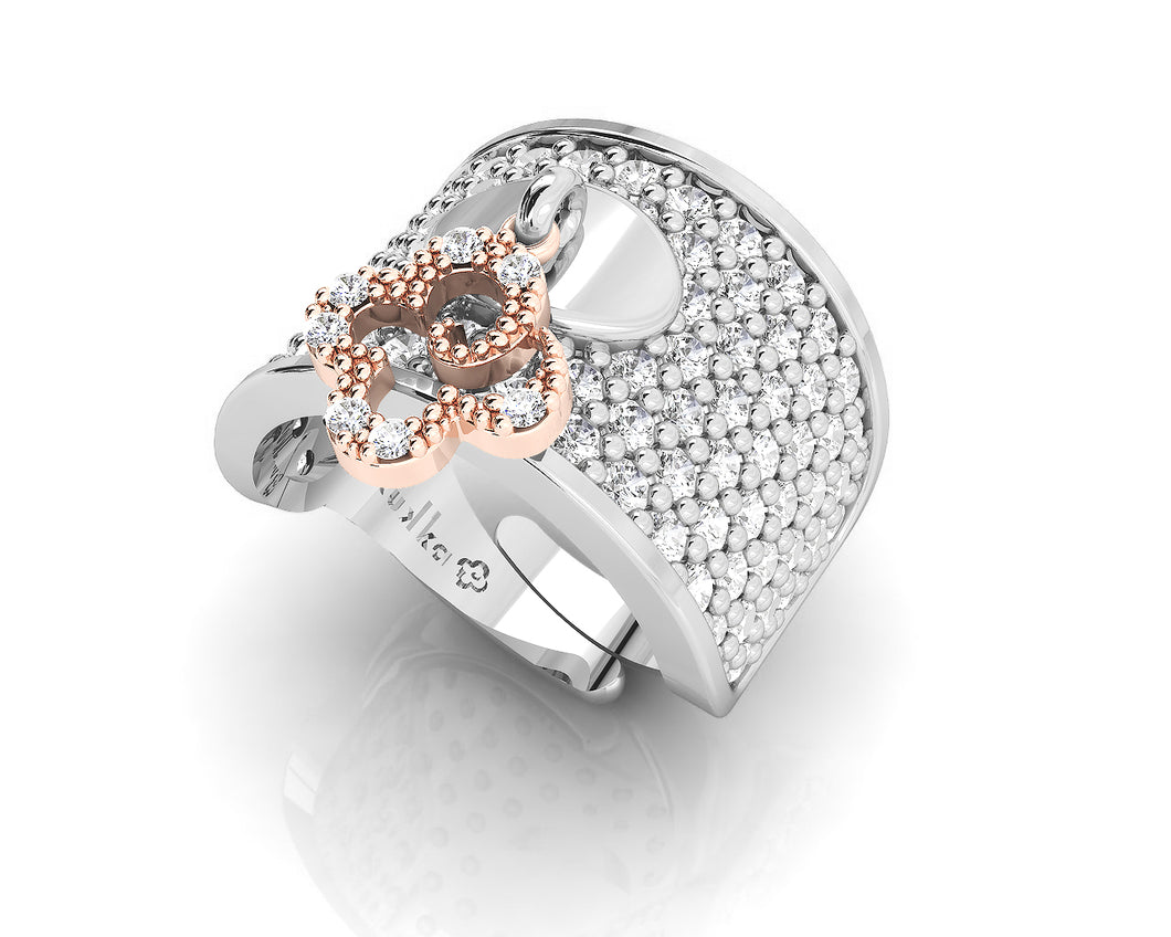 18kt Pink Gold Plated Ring 'Kukkadas Silver Field of Flowers ' for Ladies