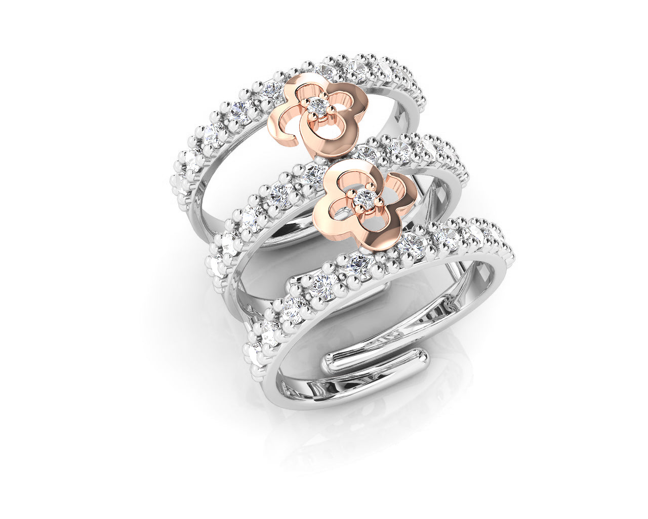 Rose Gold Plated 'Kukkadas Silver Play Date' Women's ring