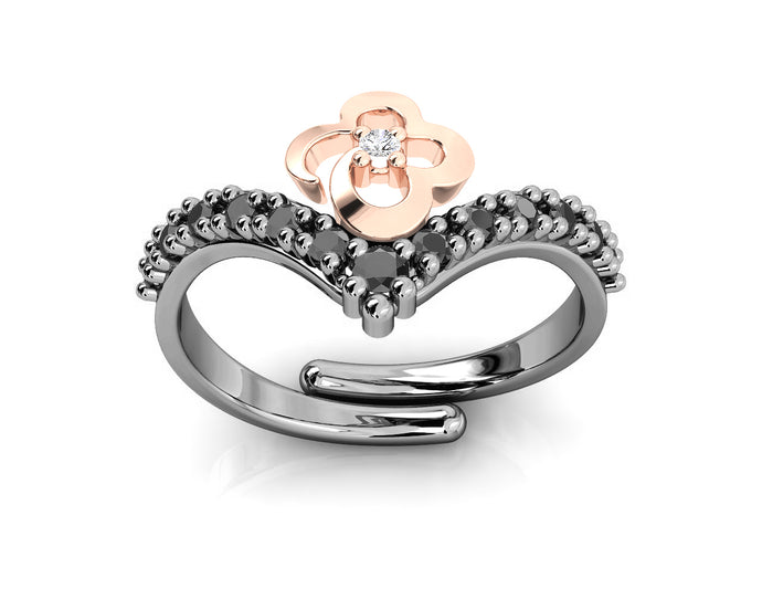 Women's Silver Ring Pink Gold Plated 'Kukkadas Shadow Hold Me '