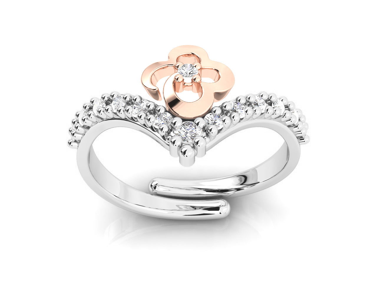 Ladies' Ring Silver Plated in Rose Gold 'Kukkadas Silver Hold Me '
