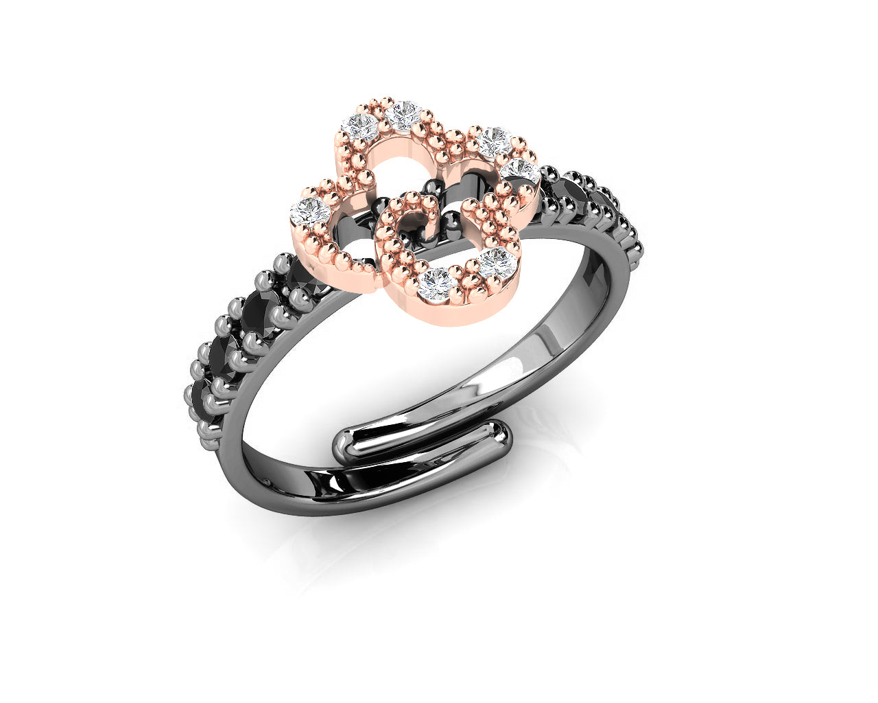 Ring for Ladies Rose Gold Plated 'Kukkadas Shadow Sunflower '