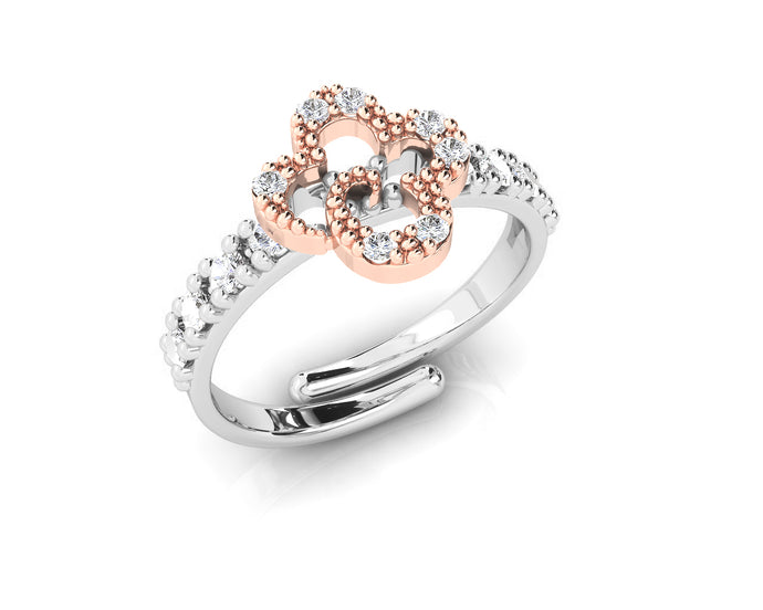 Women's Ring Rose Gold Plated 'Kukkadas Silver Sunflower '