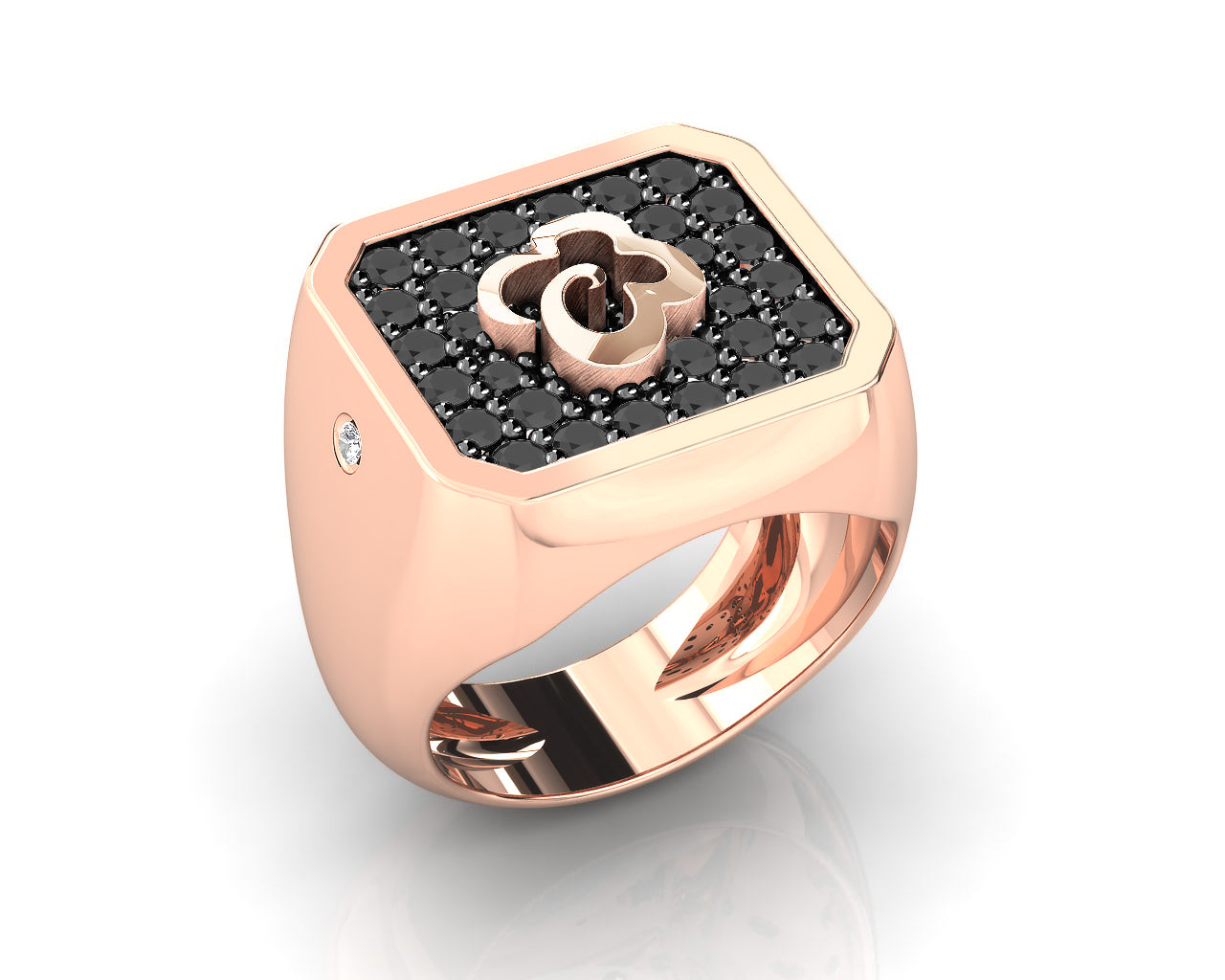 Silver Ring for Her 'Kukkadas Shadow Corsage ' Plated in Rose Gold