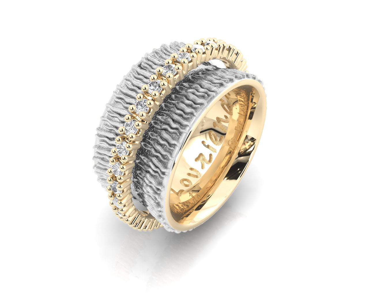 Ring Gold Plated Sterling Silver for Ladies 'Gold Light of My Eyes '