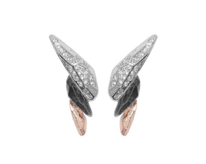 Earrings for Girls | Obsydian Rose Fury main view | 18kt Rose Gold Plated | Kukka Jewelry""