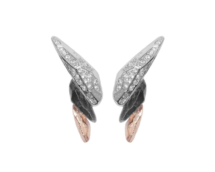 Earrings for Girls | Obsydian Rose Fury main view | 18kt Rose Gold Plated | Kukka Jewelry