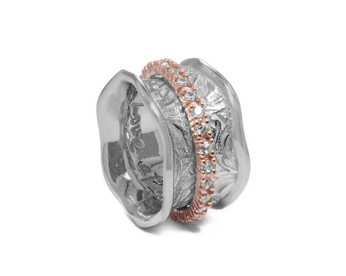 Ring for Women 'Silver Secret-Keeper ' Pink Gold Plated