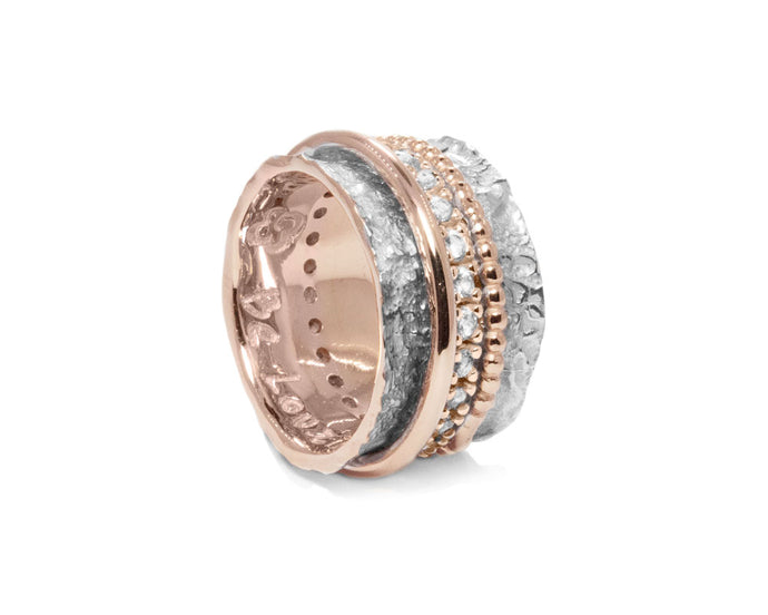 Ring for Girls Pink Gold Silver Plated 'Rose Intimacy '