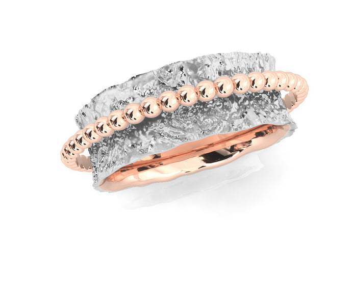 Women's 'Rose Levitation ' Ring Rose Gold Silver Plated