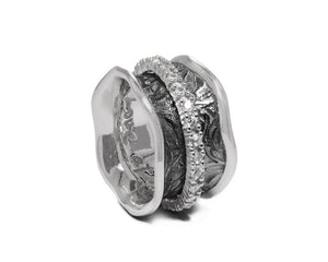 Ring for Ladies 'Shadow Secret-Keeper ' White Gold Plated Sterling Silver