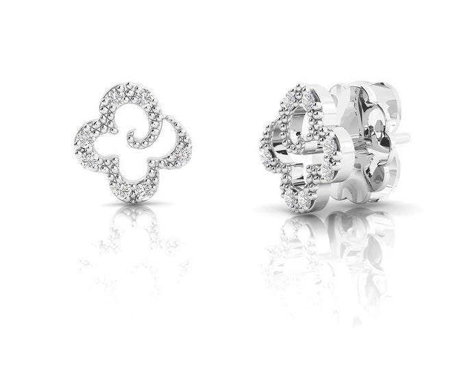 Girls' 'Kukkadas Silver Flower ' studs White Gold Plated