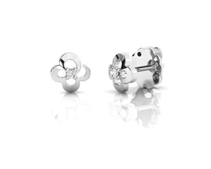 Studs in White Rhodium Plated for Girls 'Kukkadas Baby's Breath '