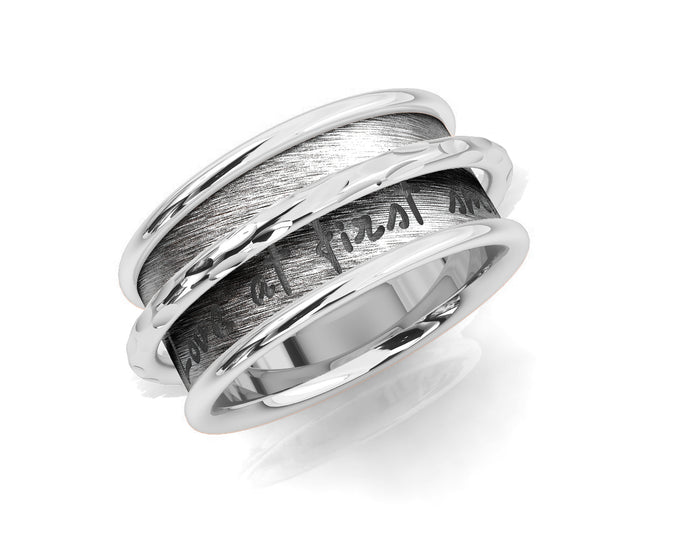 White Gold Plated 'Silver Ripple Chemistry ' Women's Ring
