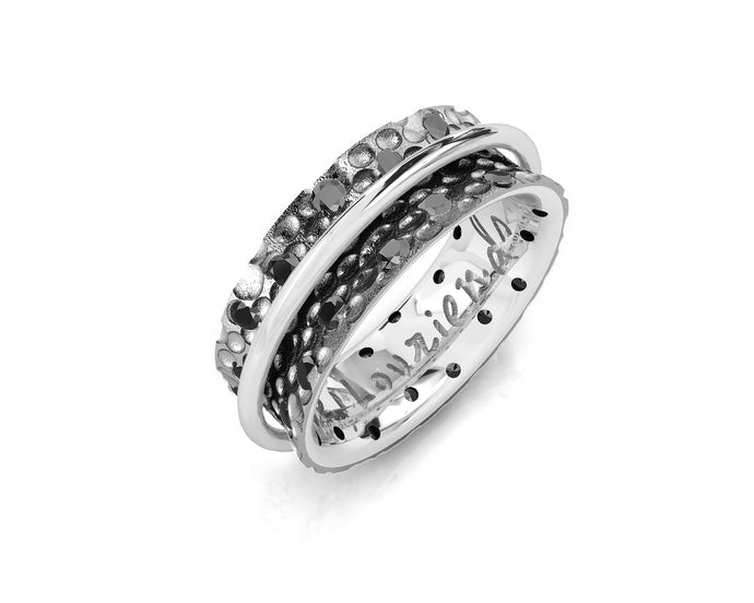 White Gold Sterling Plated Ring for Girls 'Shadow and Silver Fellowship '